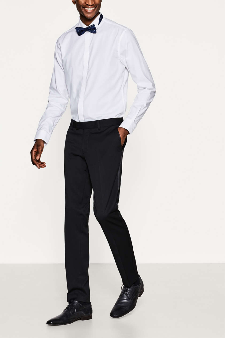 Esprit - Elegant tuxedo trousers with side stripes