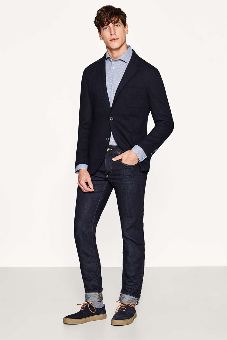 Esprit - Double-faced blazer in fine blended wool
