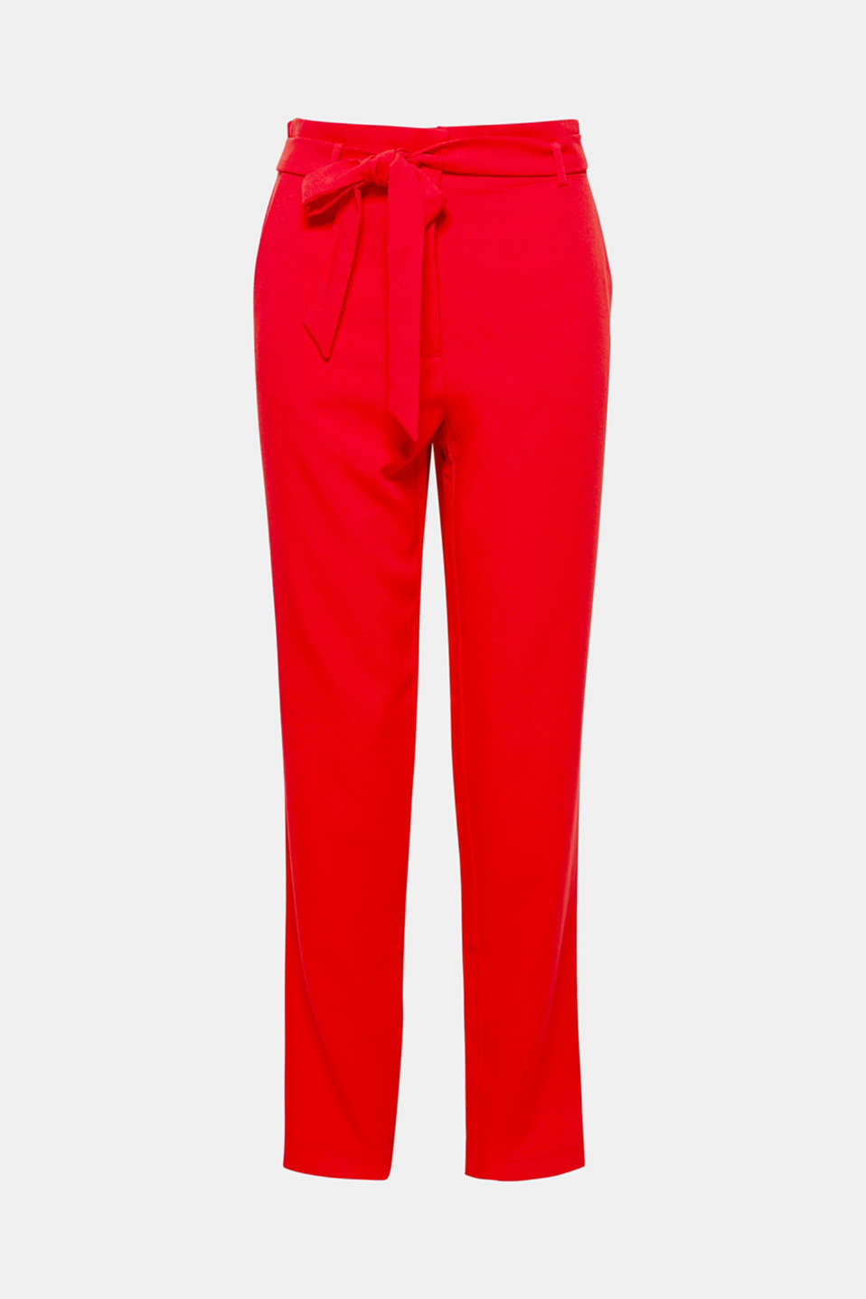 These cropped trousers wow with elegant crêpe fabric and a stretchy paper bag waistband with a tie-around belt.