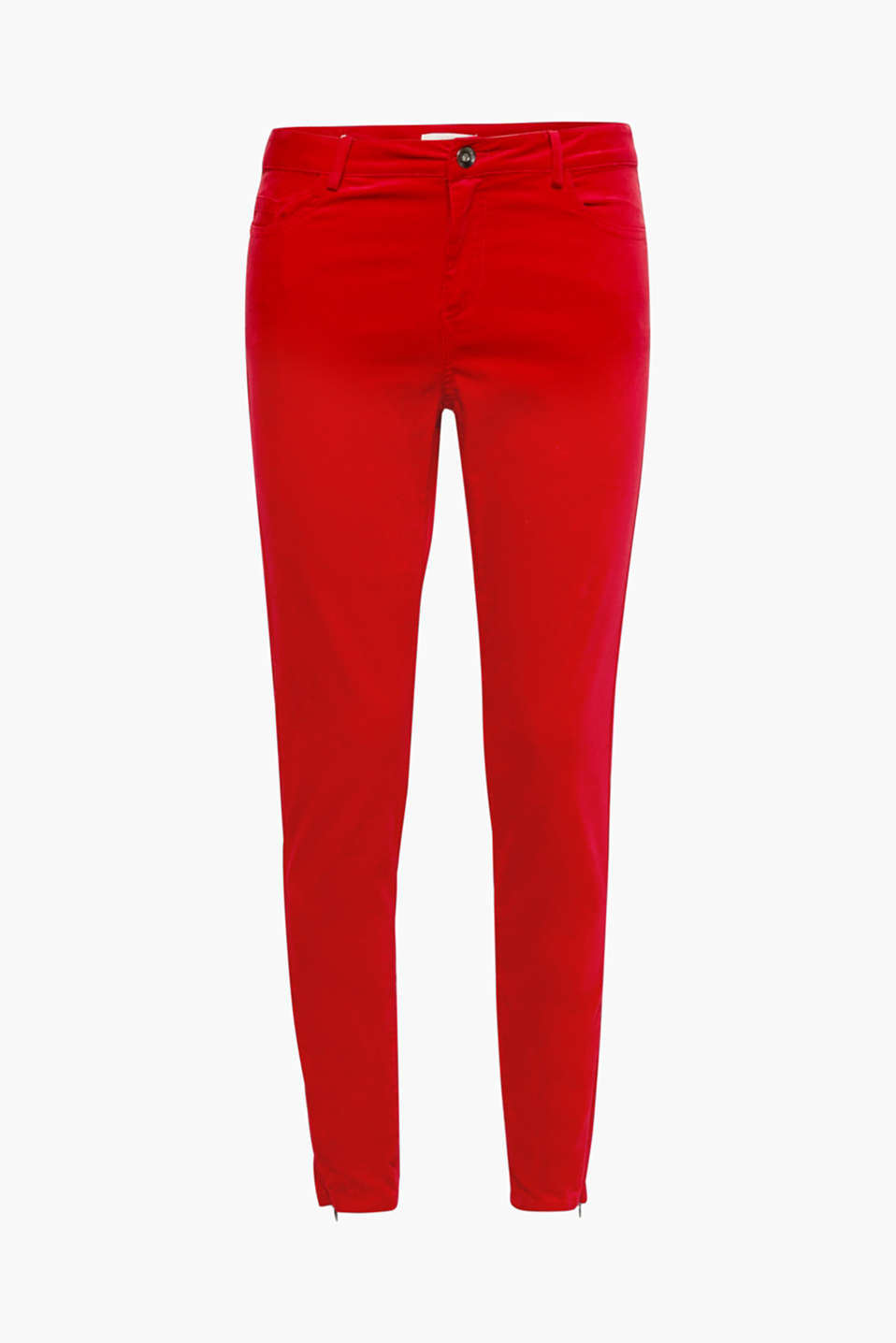Exquisite velvet meets sporty five pockets on these stretchy trousers. Additional feature: the hem zips at the sides!