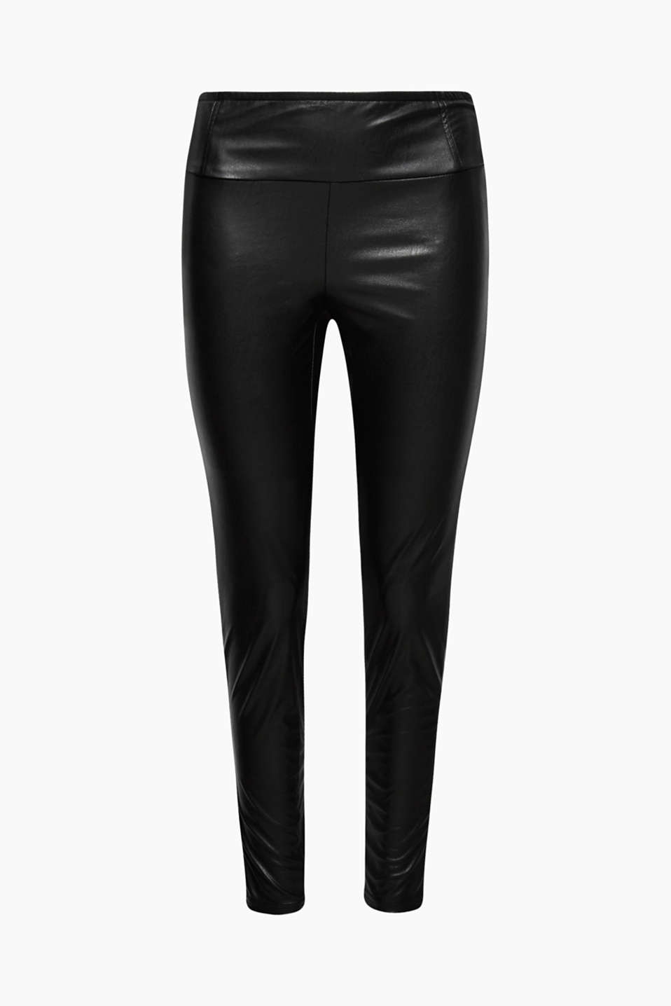 These figure-hugging trousers in high-quality faux leather will give your outfits a rock star twist.