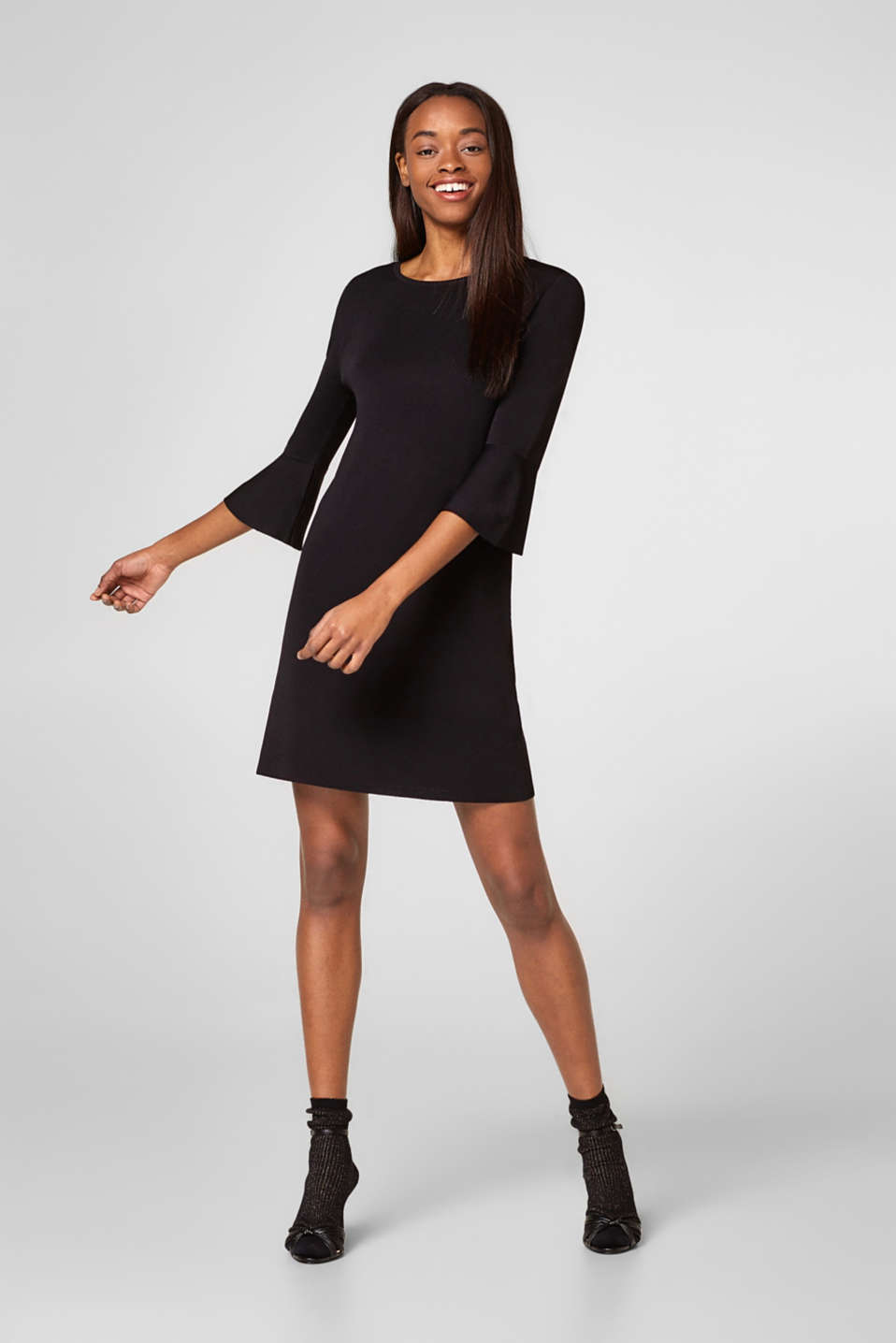 Esprit - Jersey dress with trumpet sleeves