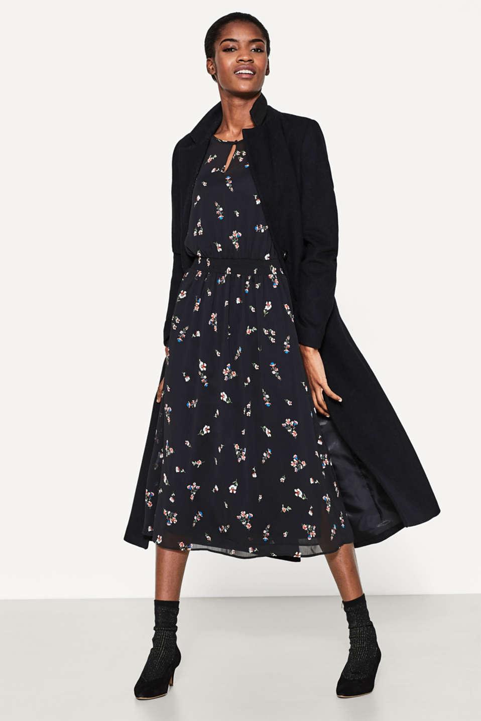 Esprit - Florales Chiffon-Kleid in Midi-Länge im Online ...