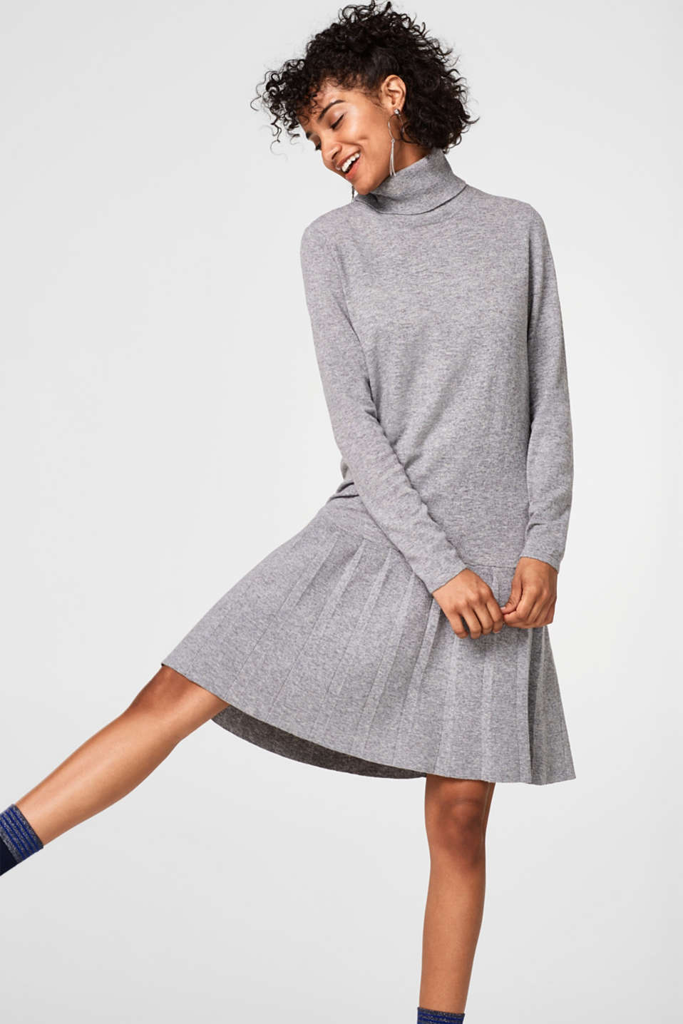 Esprit - Wool blend knitted dress + a flounce hem