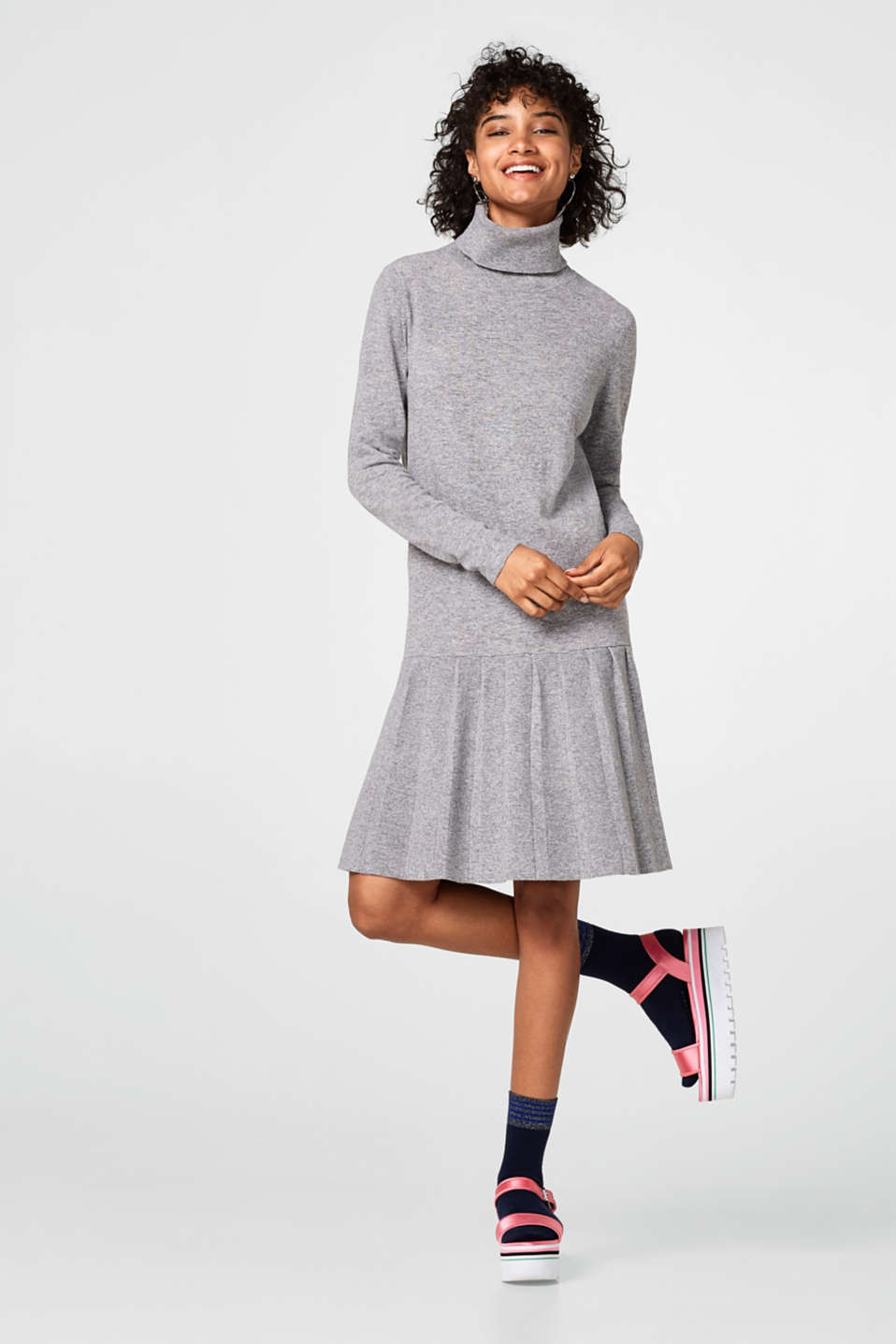 Wool blend knitted dress + a flounce hem