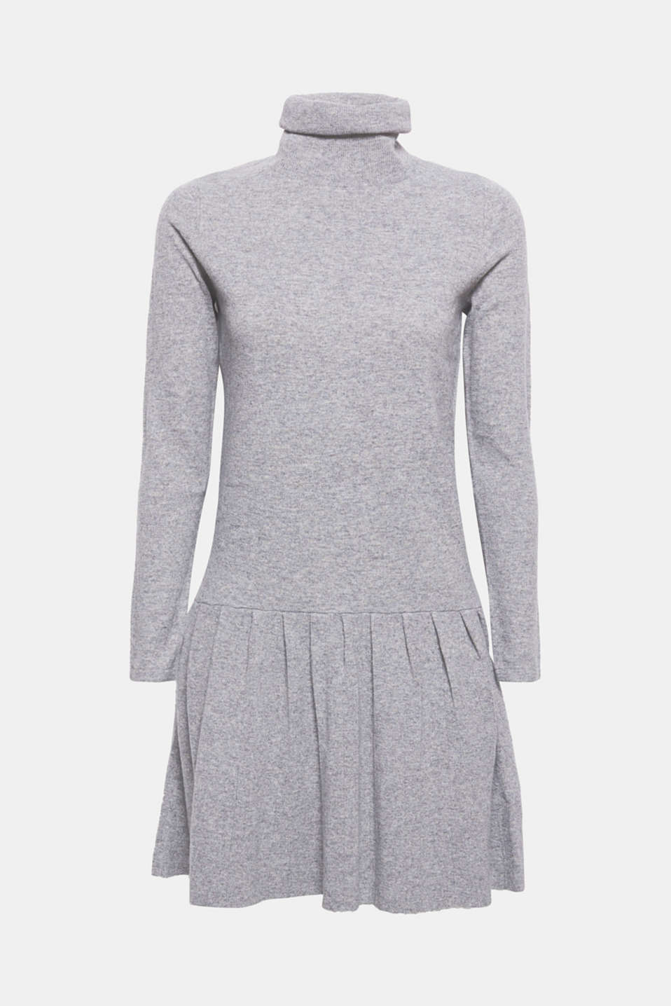 This soft knitted dress with a polo neck and flared flounce hem presents a trendy new silhouette