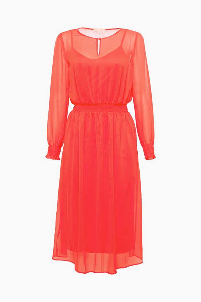 Midi-Kleid aus zartem Crinkle-Chiffon