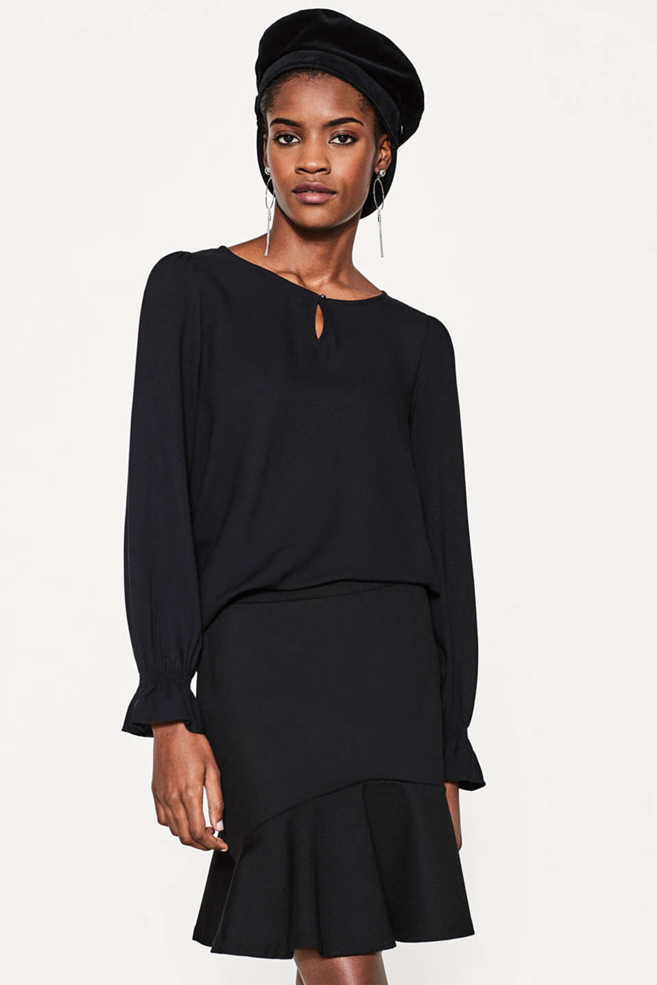 Esprit - Jacquard blouse with a shimmering texture