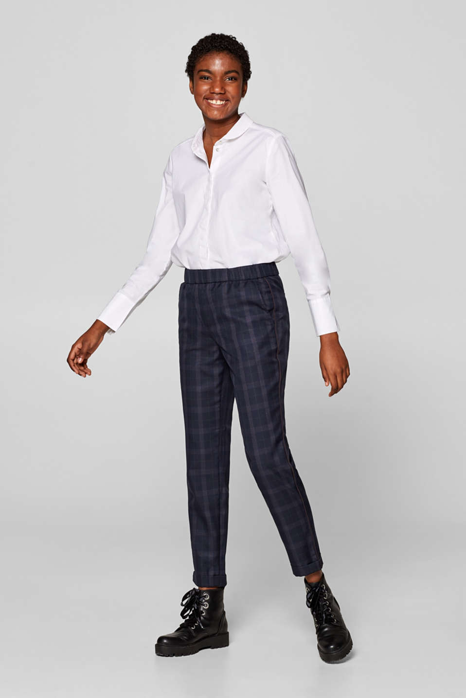 edc - Stretch trousers with Prince of Wales checks and piping