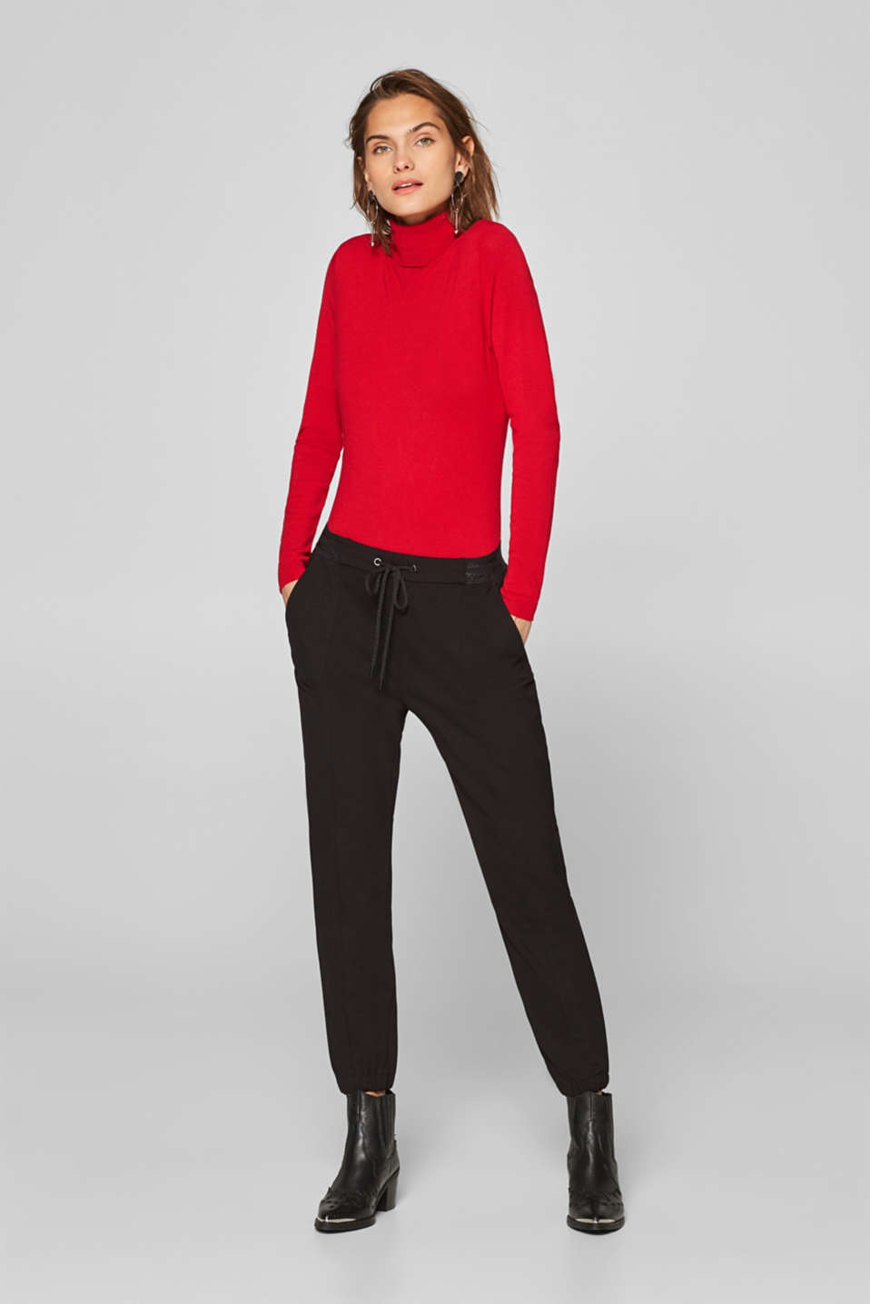 edc - Sporty stretch jersey trousers with glitter