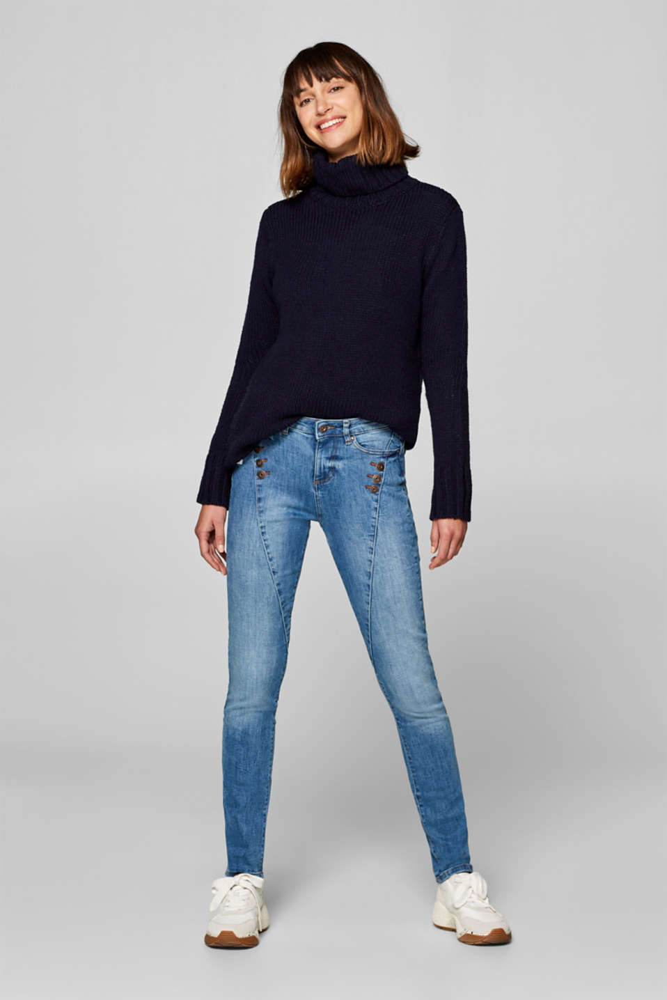 edc - Stretch jeans with button details