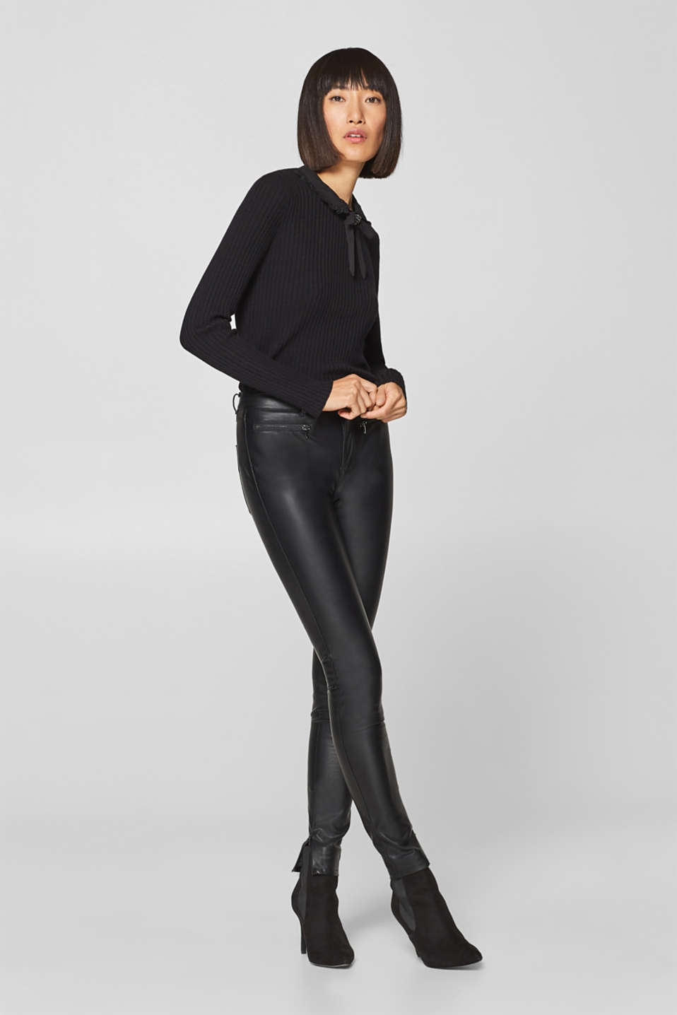 edc - Skinny Pants in Leder-Optik