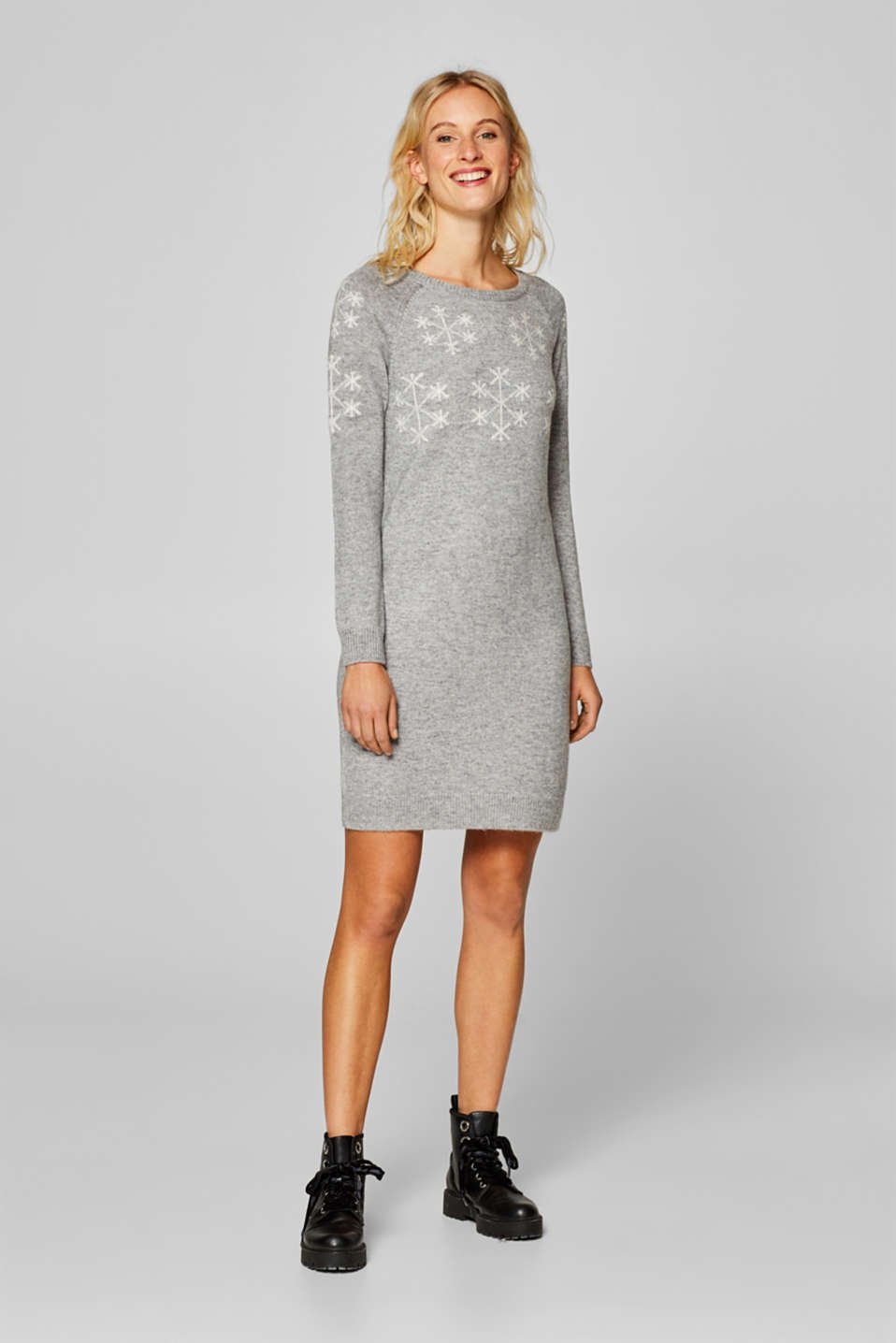 edc - Wool blend: knit dress with an intarsia pattern