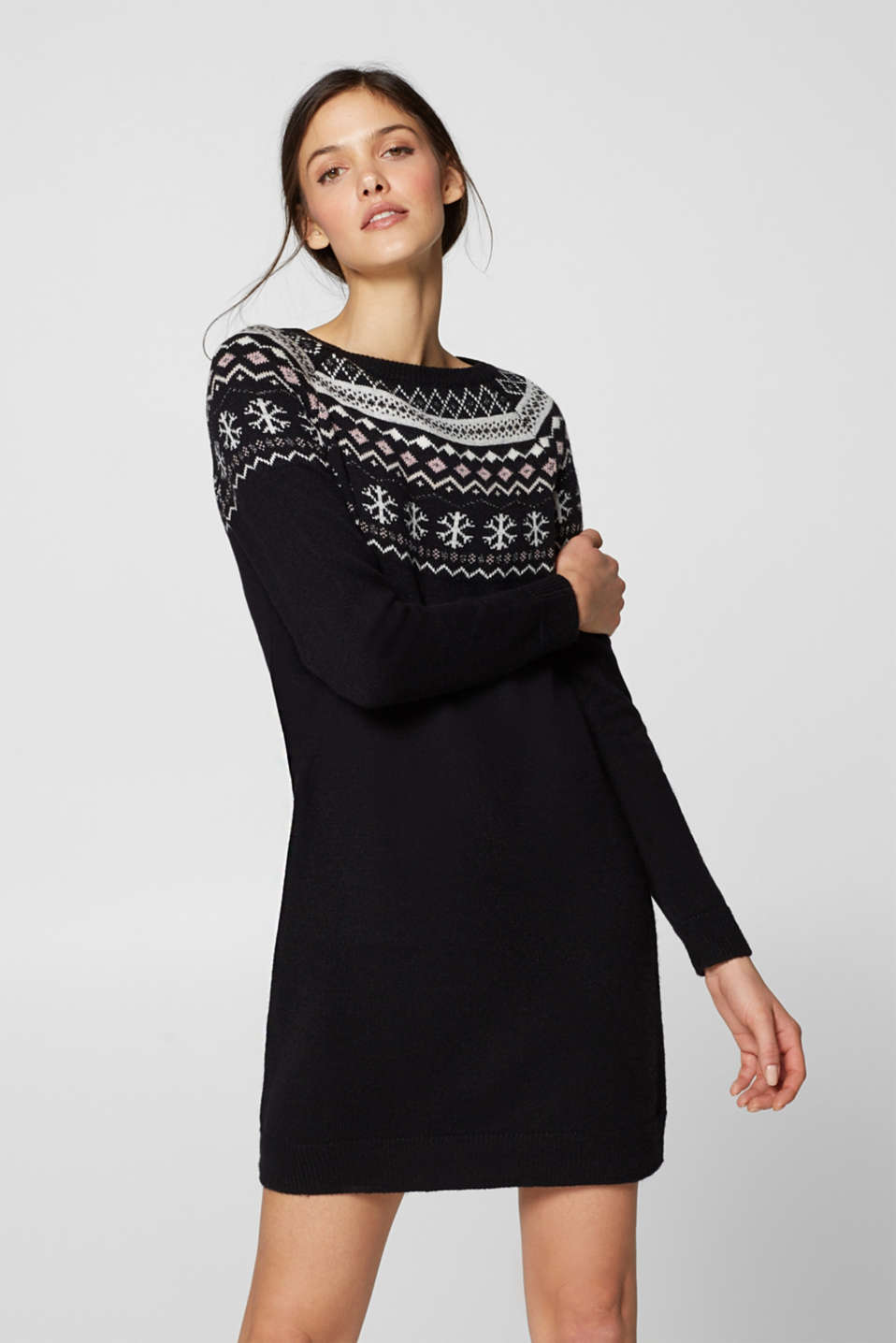 edc - Knitted dress with glittering intarsia