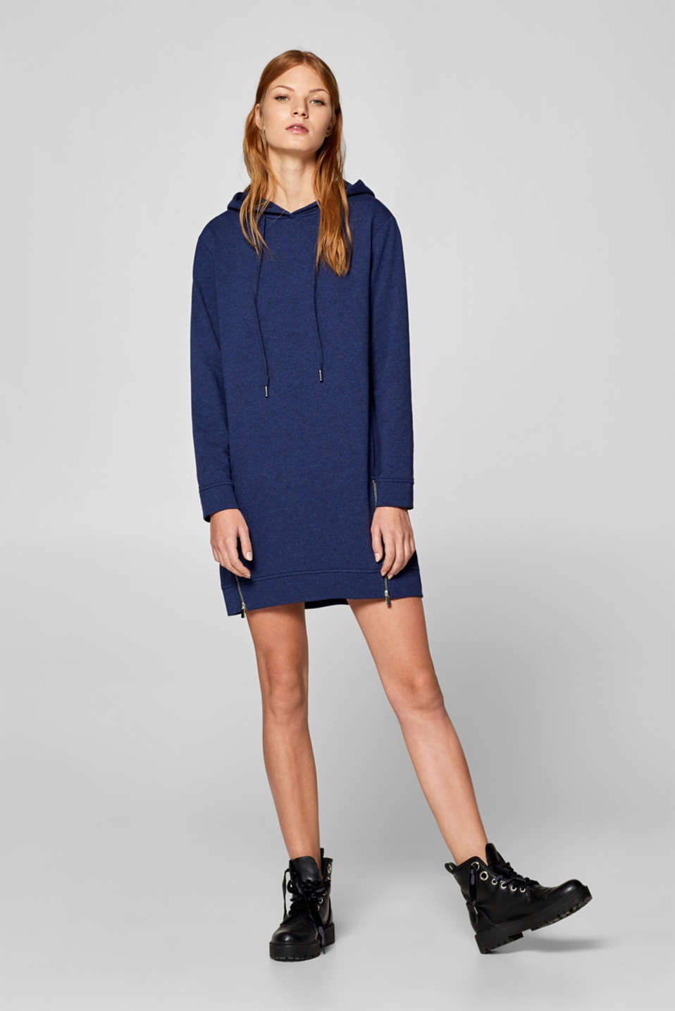 edc - Sweatshirt dress with hood and zips