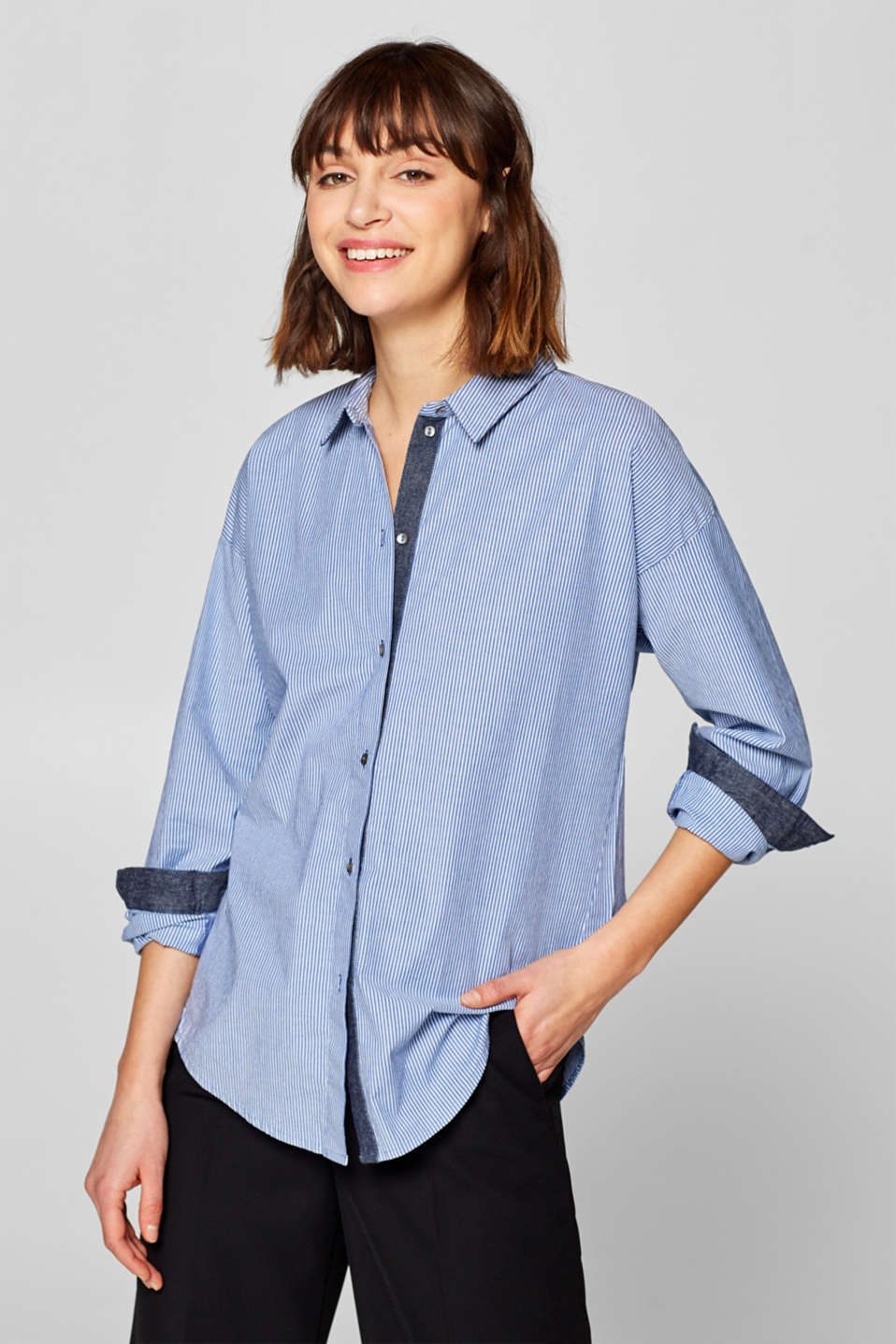 edc - Striped shirt blouse made of stretch cotton