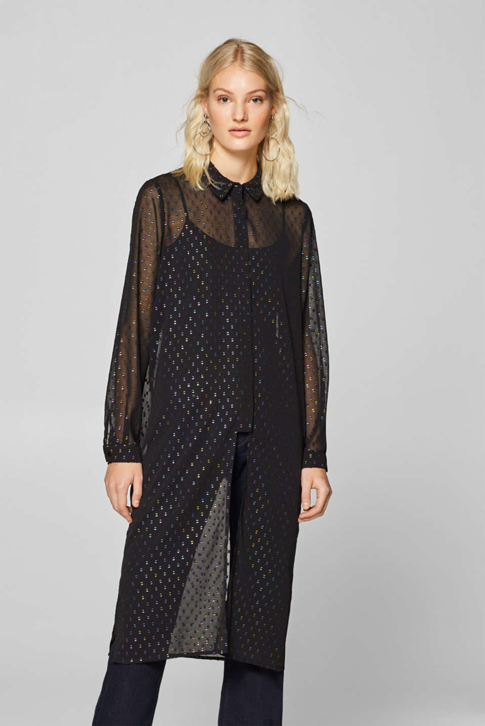 edc - Sheer long blouse with metallic polka dots