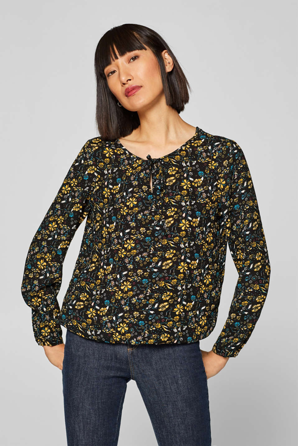 edc - Printed blouse with an elasticated hem