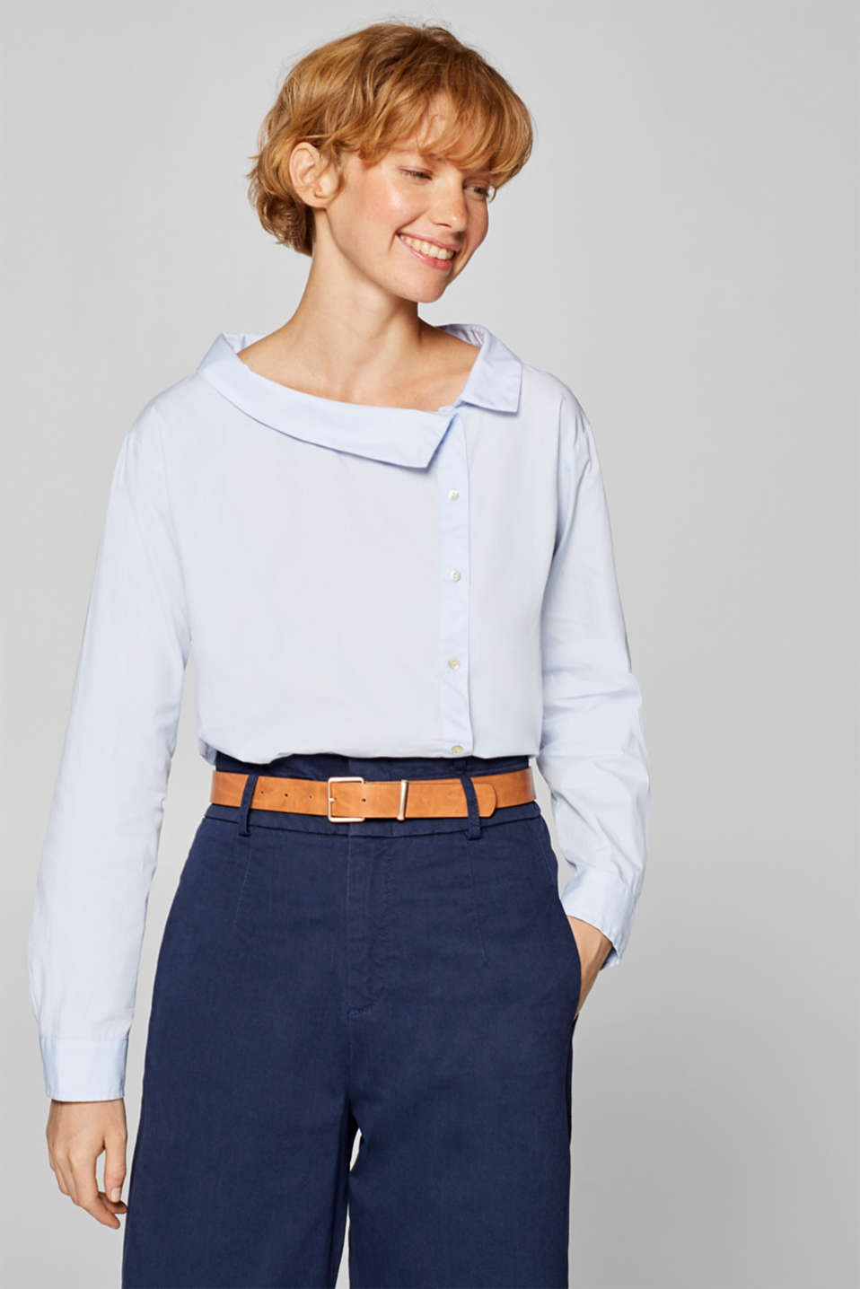 edc - Asymmetric shirt blouse in 100% cotton