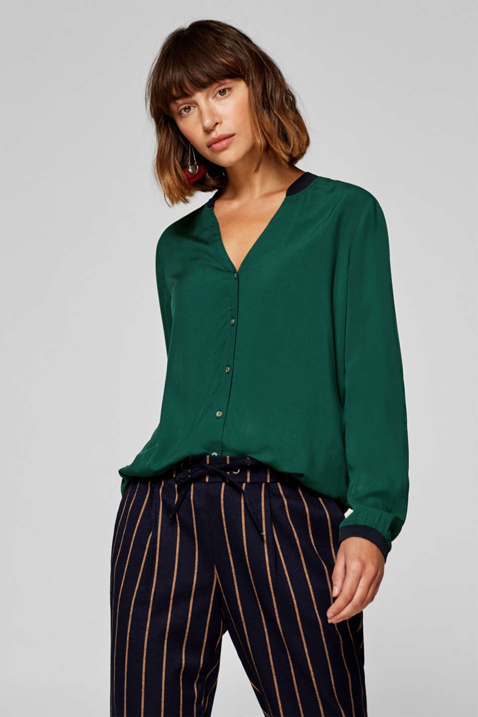 edc - Blouse with sporty ribbed cuffs