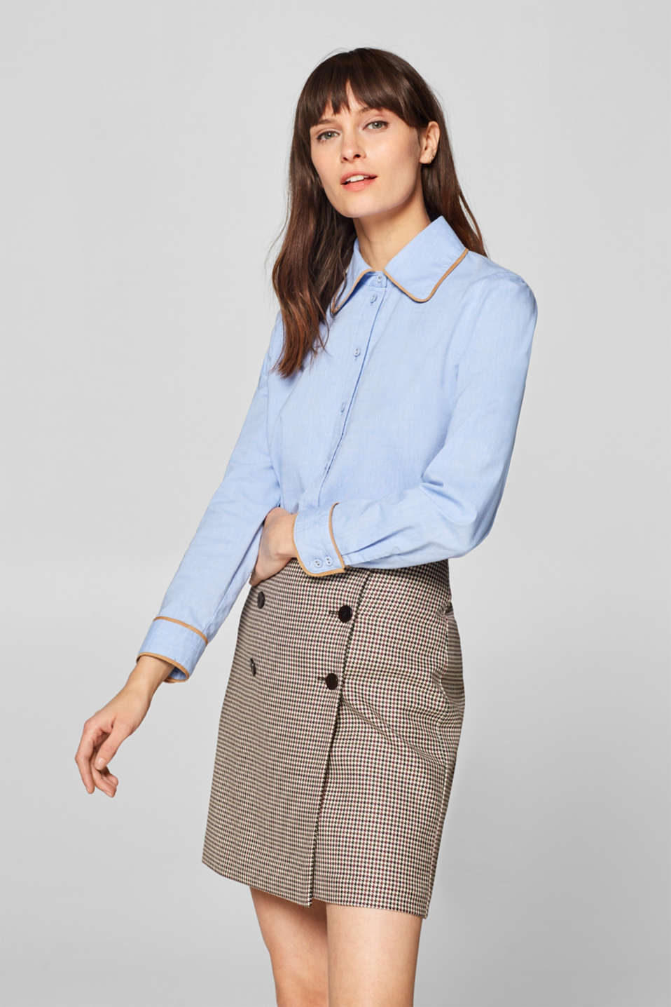 edc - Oxford blouse with faux leather piping