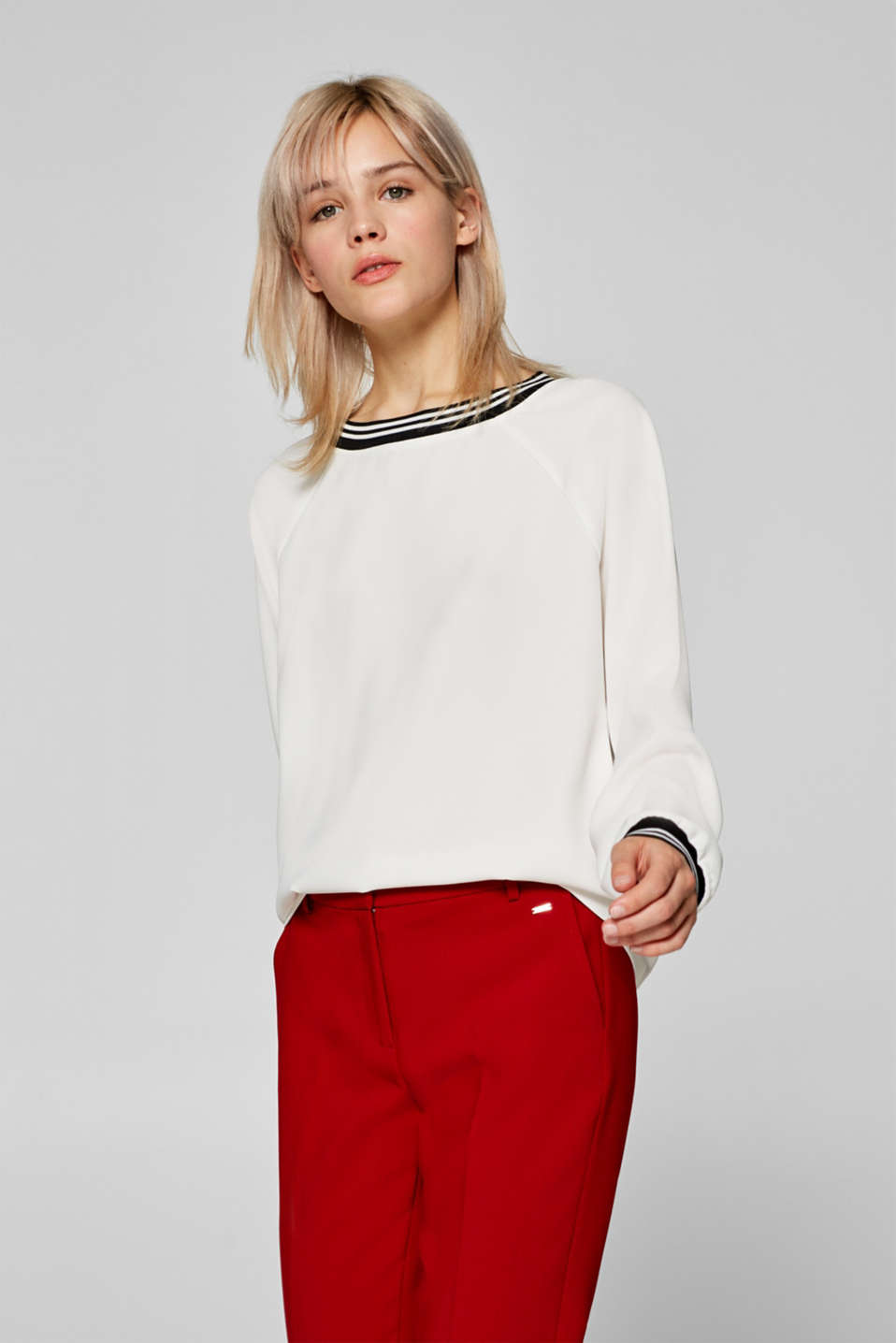 edc - Crêpe blouse with sporty cuffs