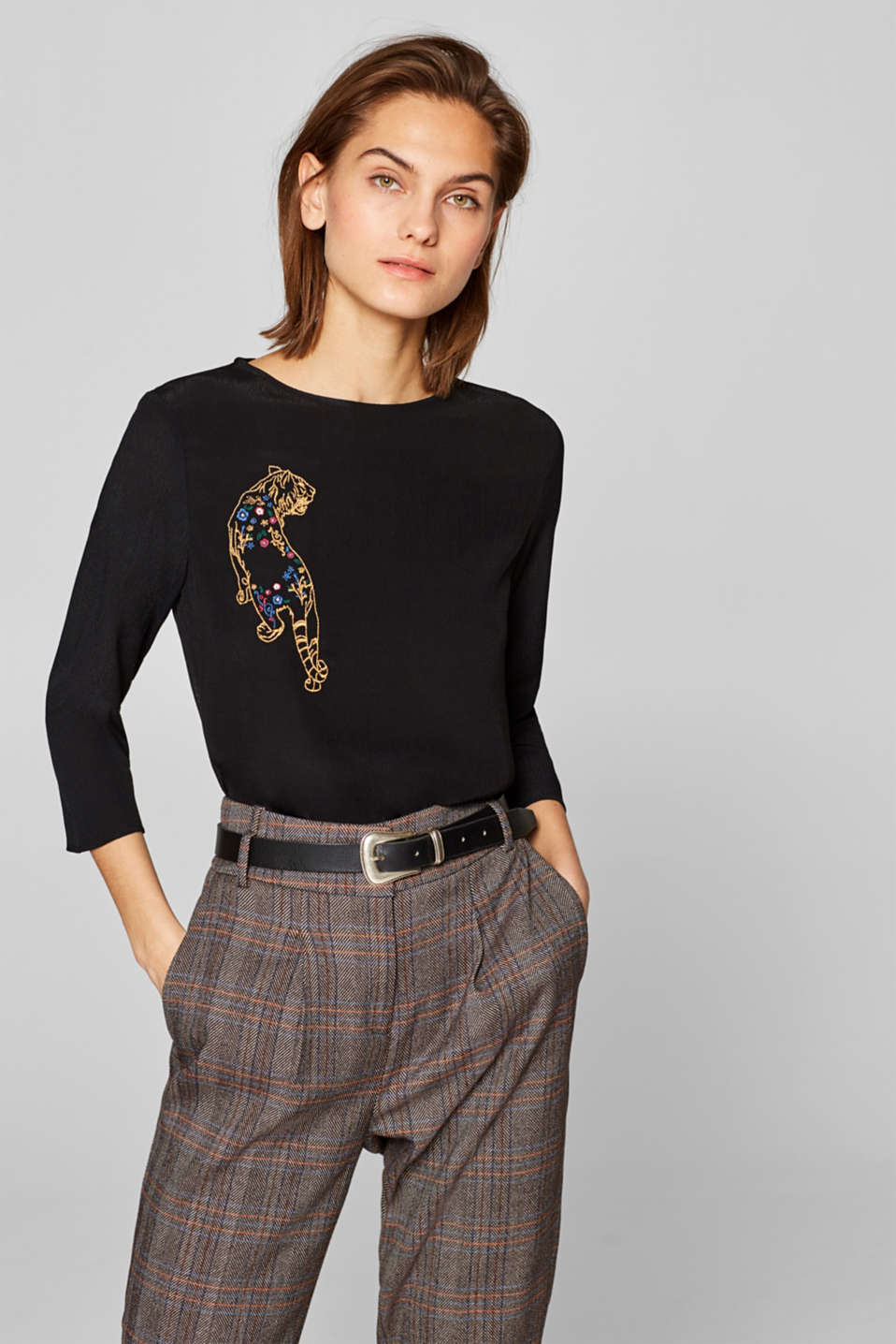 edc - Blouse with an embroidered tiger