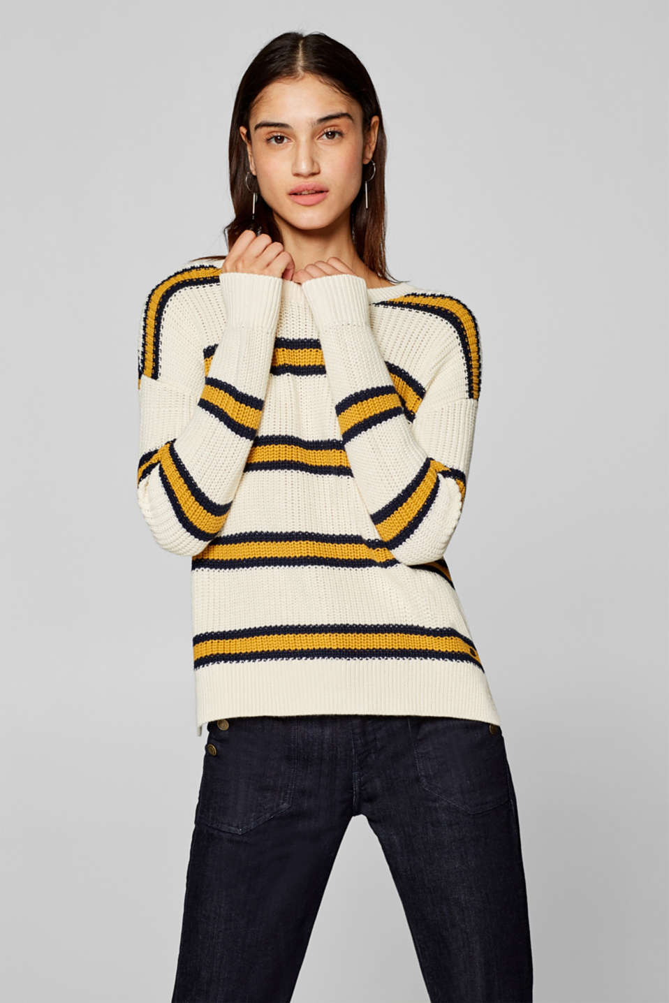 edc - Chunky knit jumper with stripes