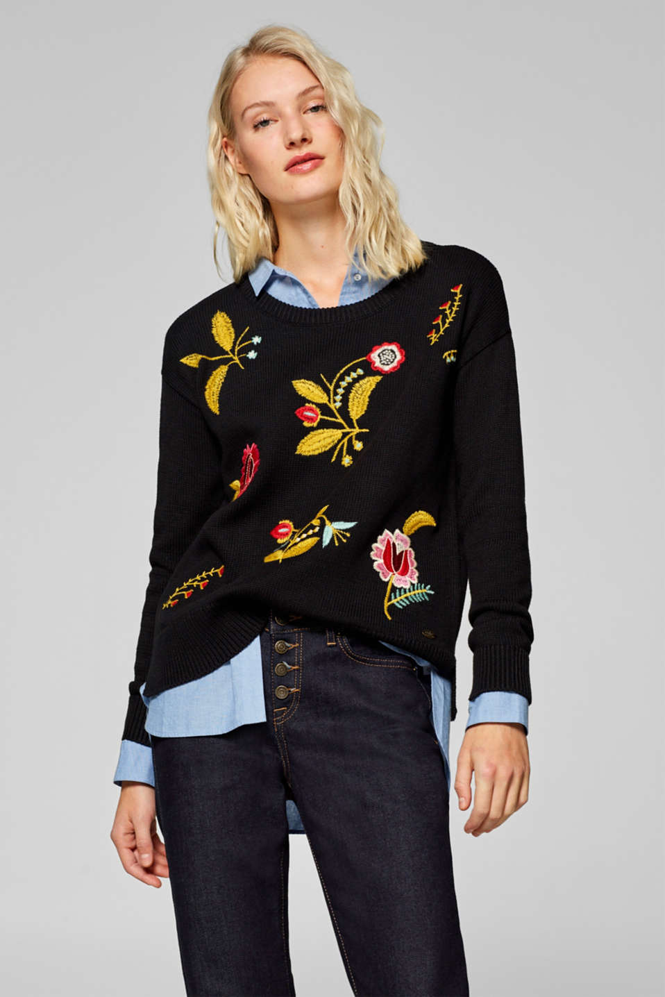edc - Jumper with floral embroidery