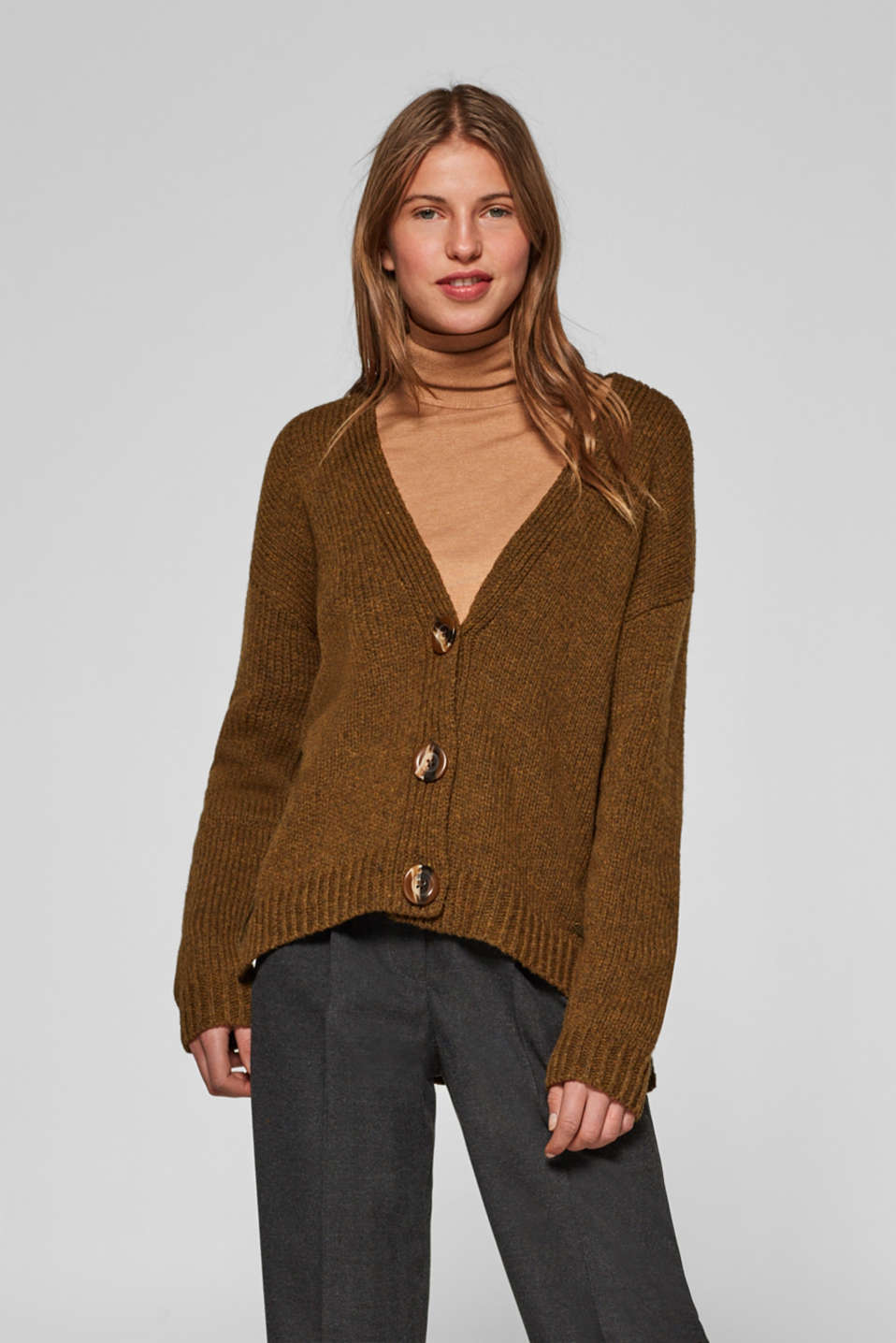 edc - With wool: melange cardigan with a V neckline
