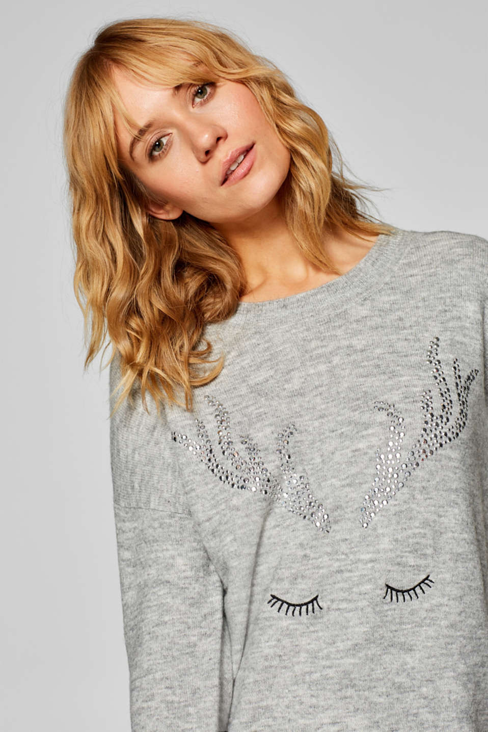 edc - With wool: Jumper with sparkling reindeer