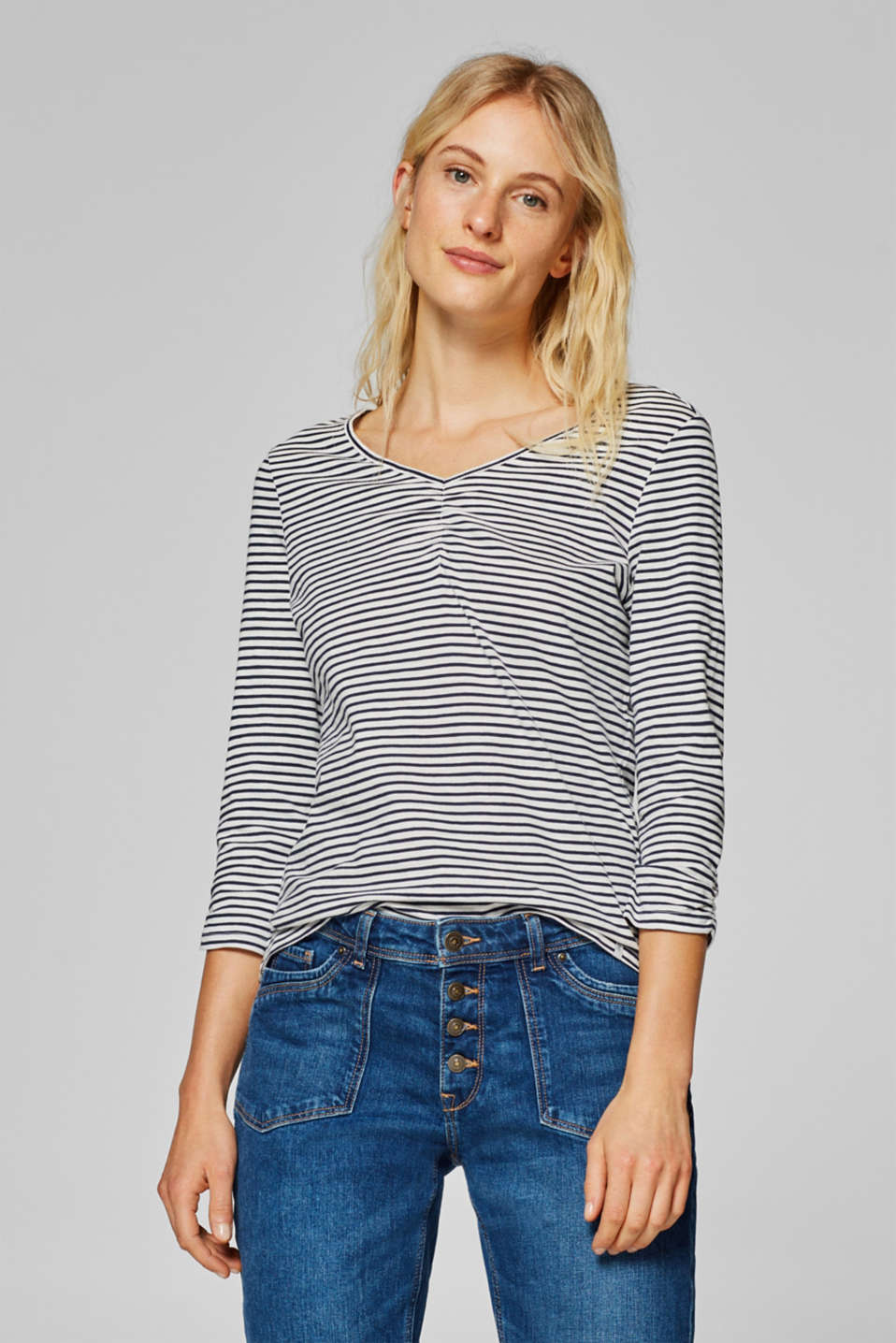 edc - Striped top with gathering, 100% cotton