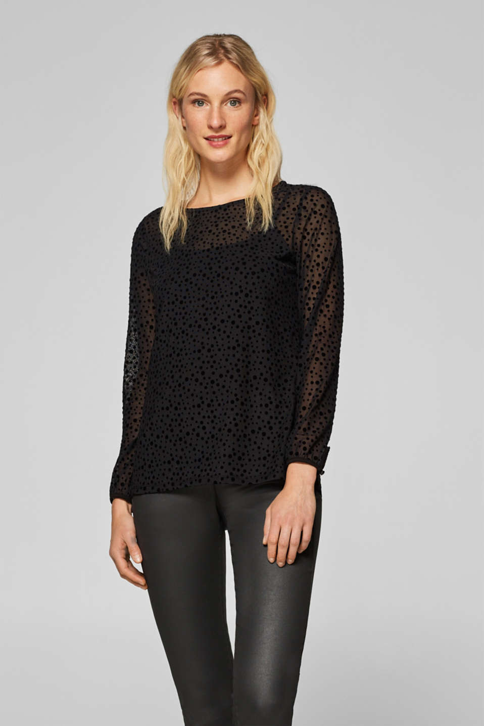 edc - Stretchy mesh T-shirt with velvet dots