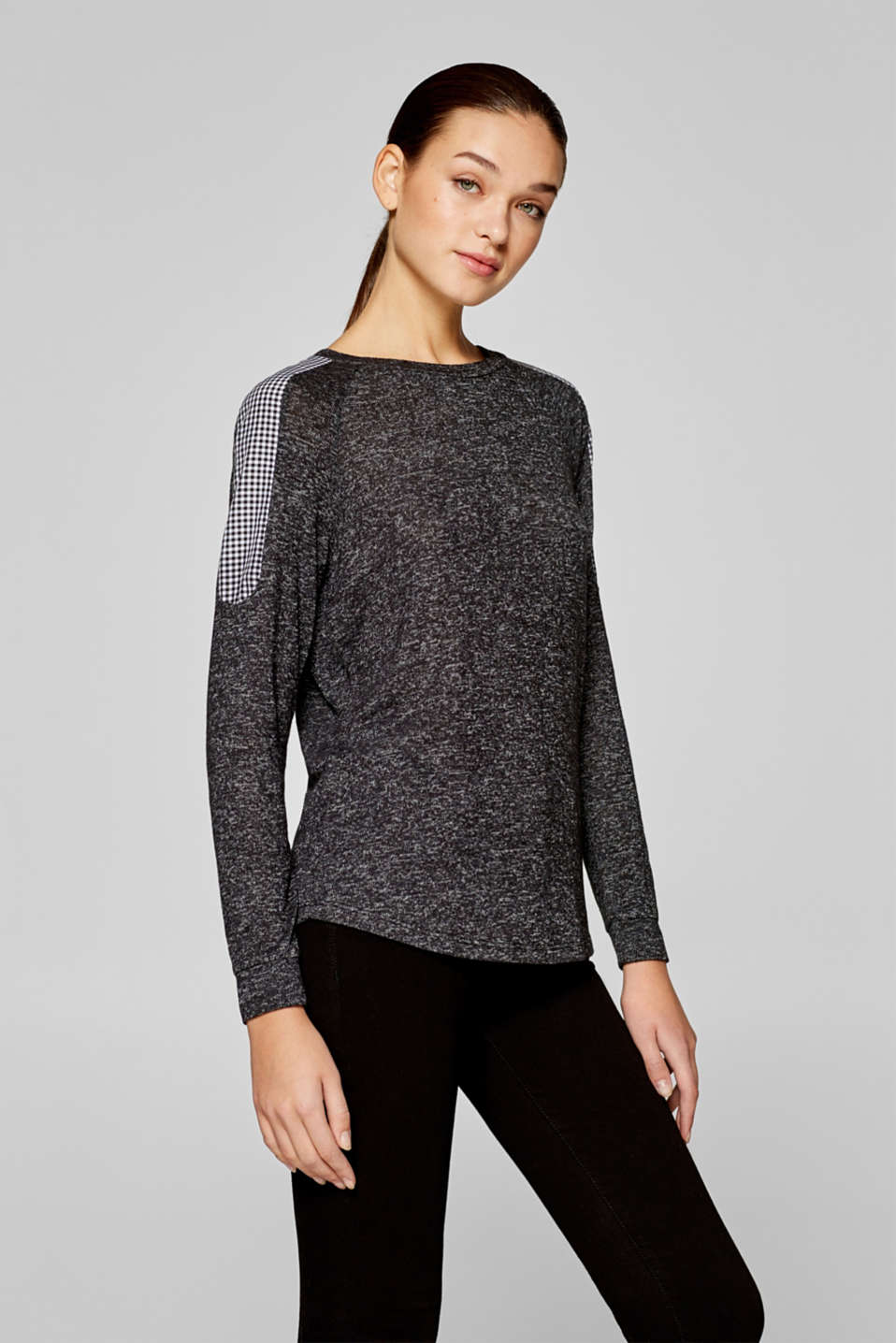 edc - Melange long sleeve top with fabric details