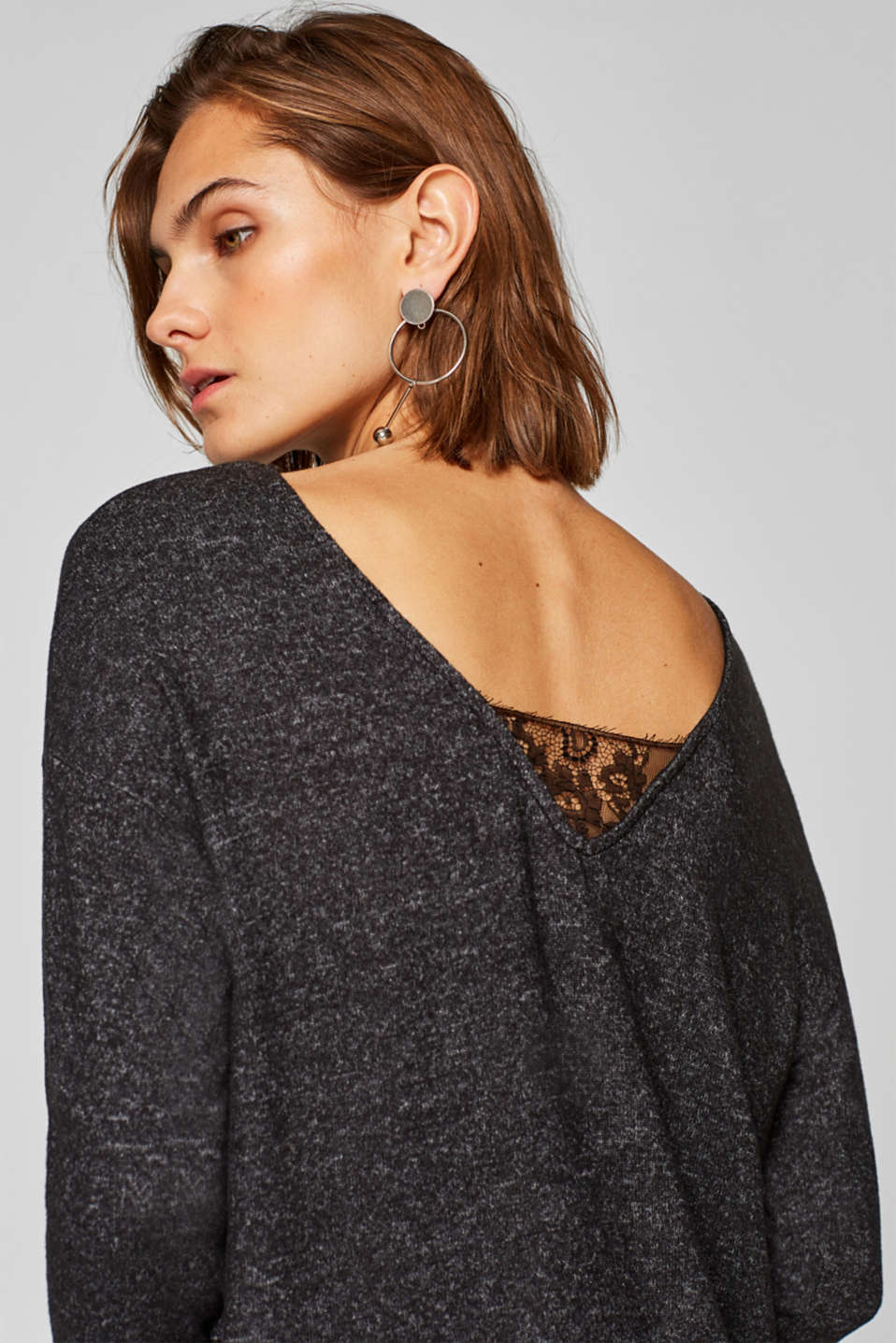 edc - Soft melange long sleeve top trimmed with lace