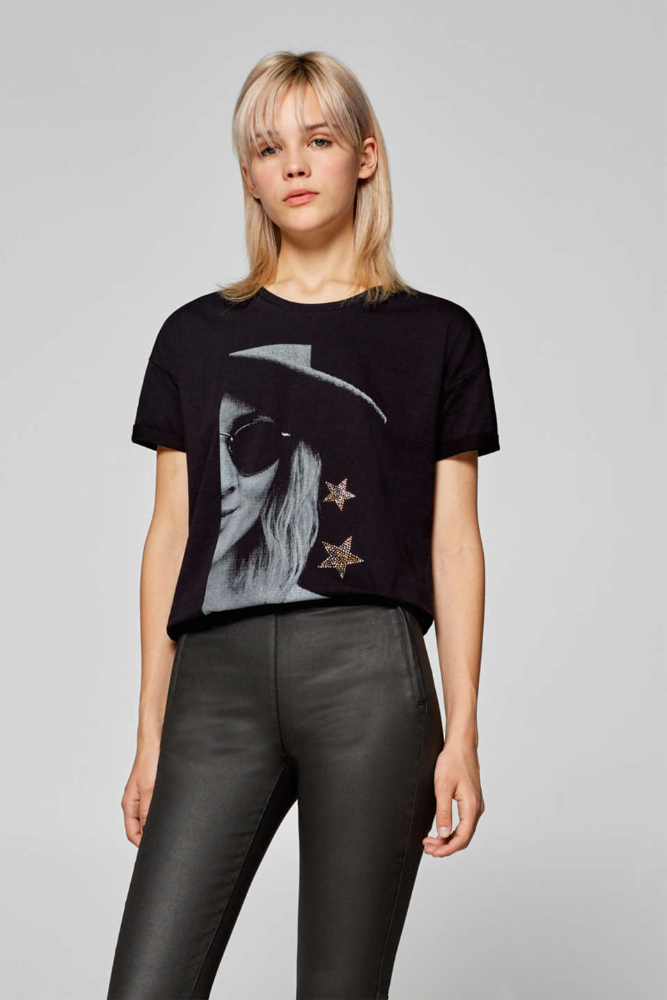 edc - T-shirt with a photo print and rhinestone stars