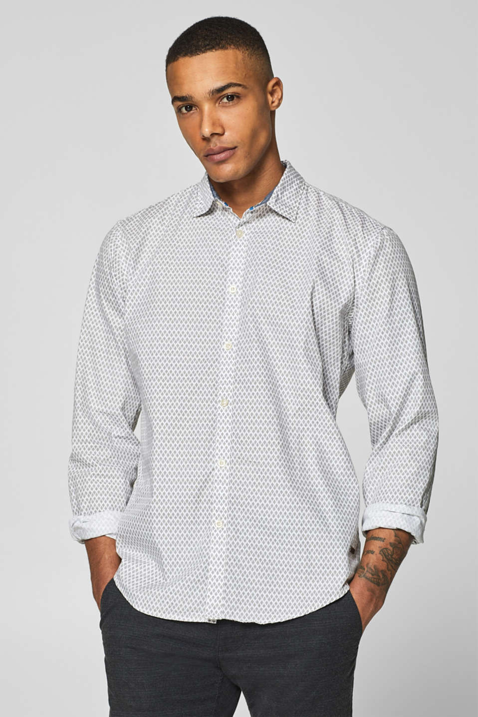 edc - Shirt with a minimalist pattern, 100% cotton