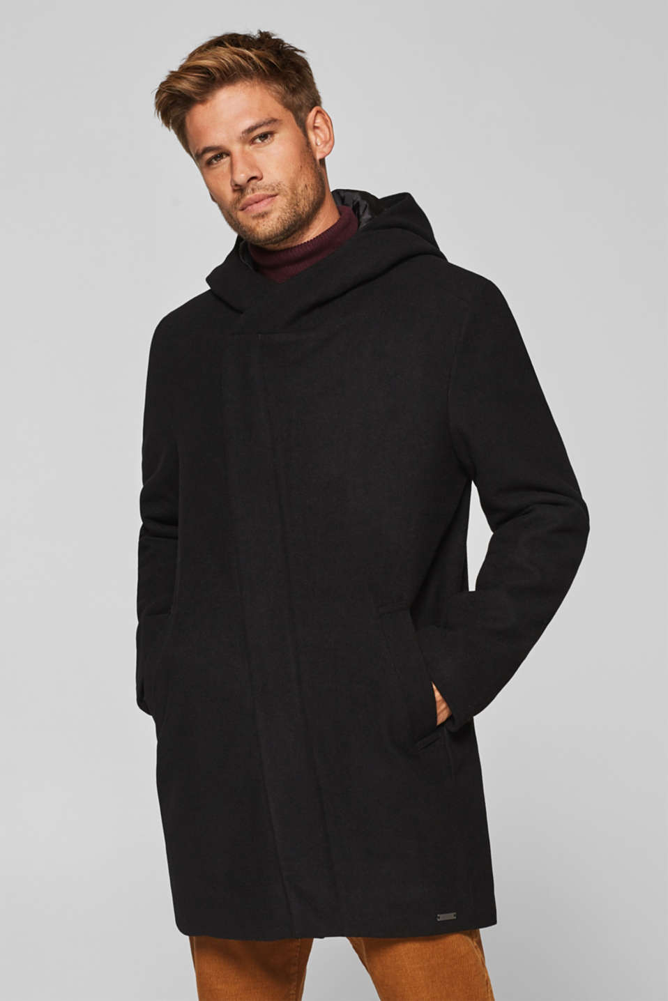 edc - Hooded coat with quilted lining