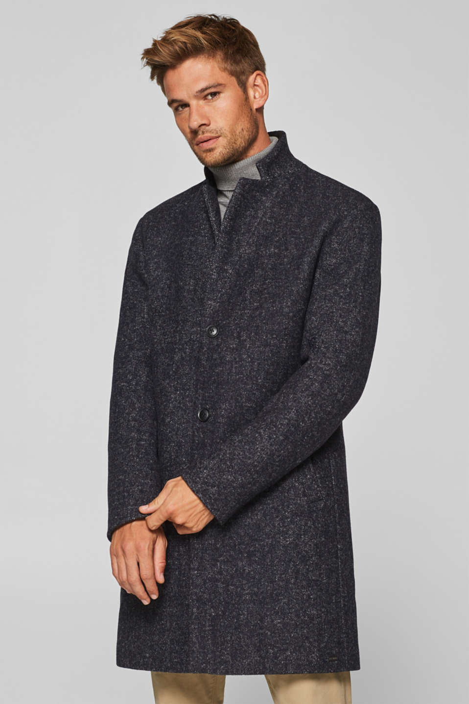 edc - Made of blended wool: Coat with herringbone pattern