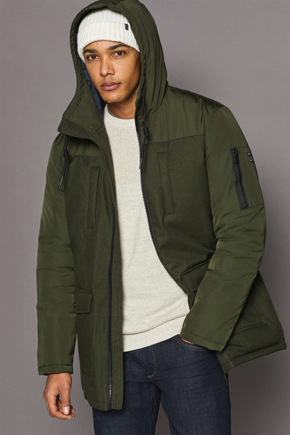 edc - KEEP COOL, STAY WARM: Nylon parka