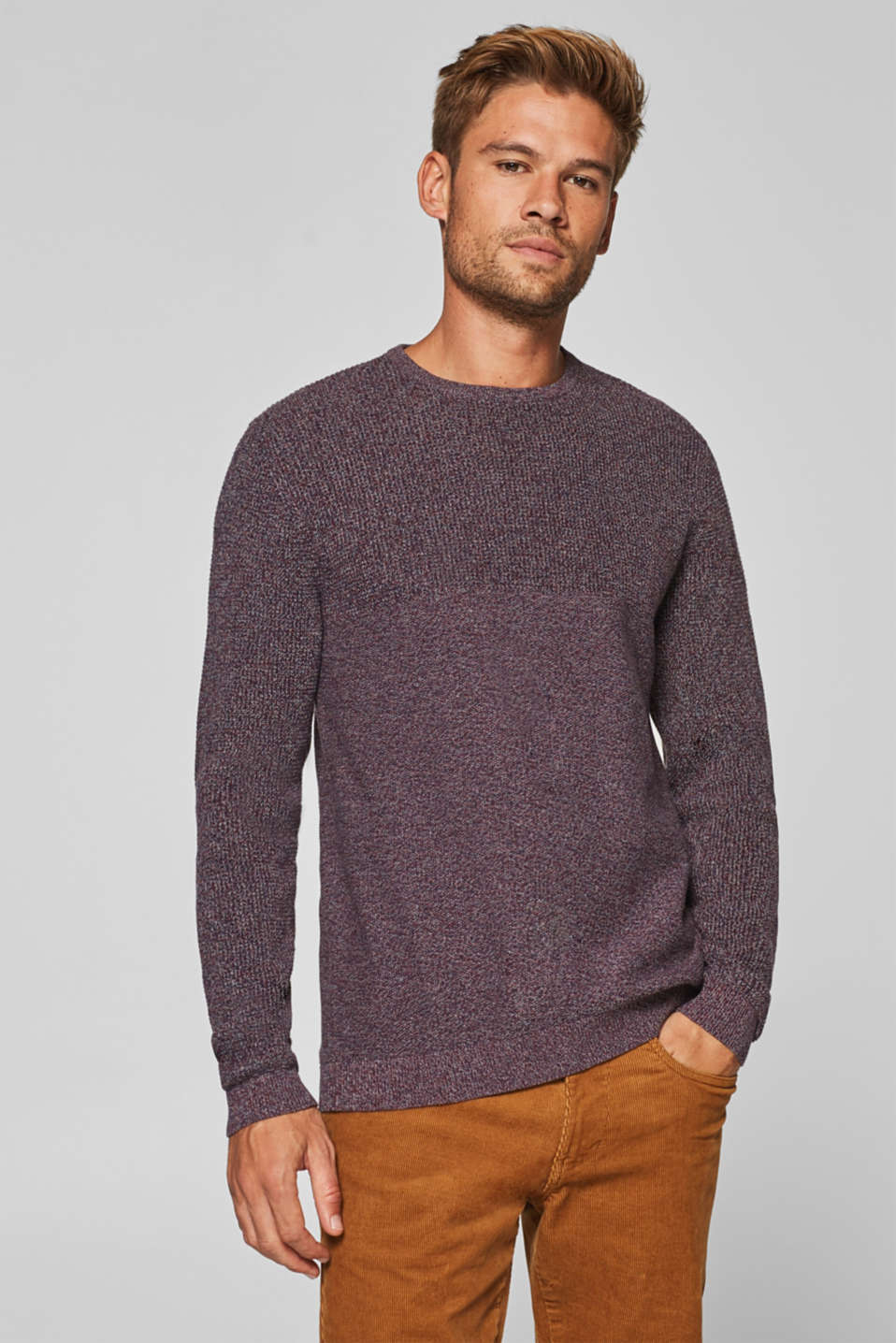 edc - Jumper with a mix of textures, 100% cotton