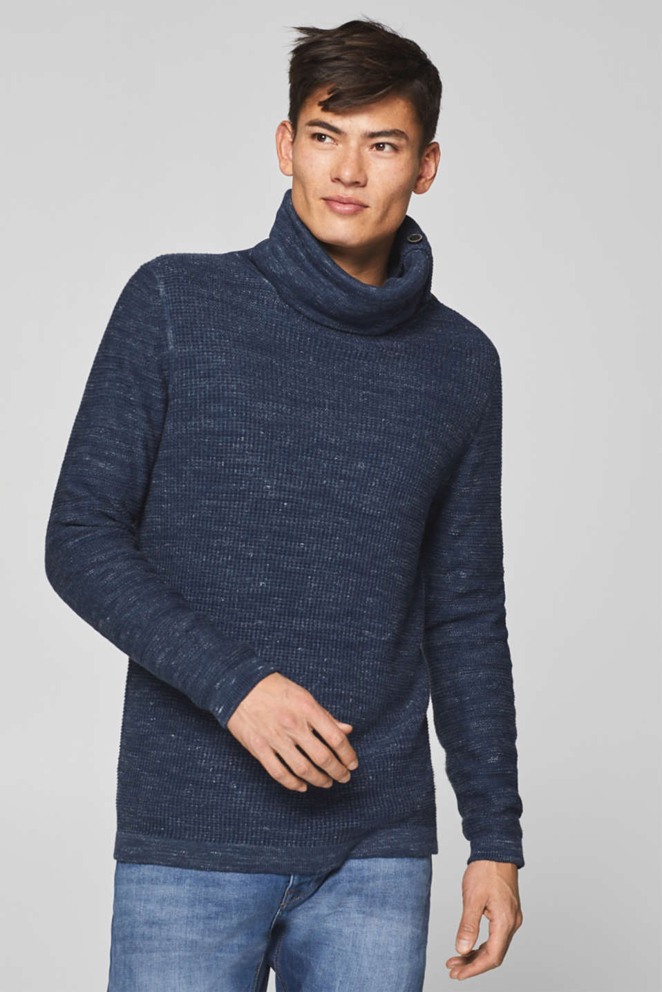 edc - Jumper with a high collar, 100% cotton