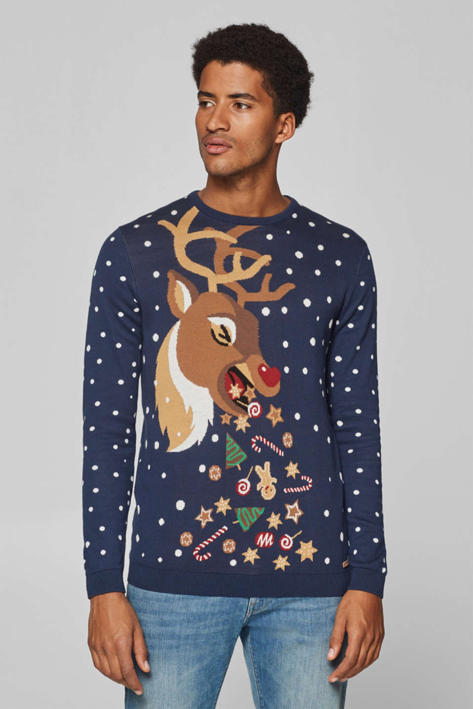 edc - 100% cotton: jumper with a reindeer motif