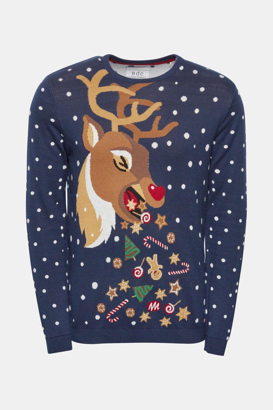 Leuke Kersttrui.Edc 100 Katoen Trui Met Rendiermotief Kopen In De Online Shop