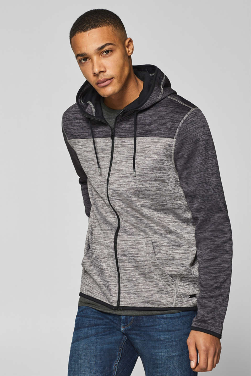 edc - Hooded cardigan with fleece lining