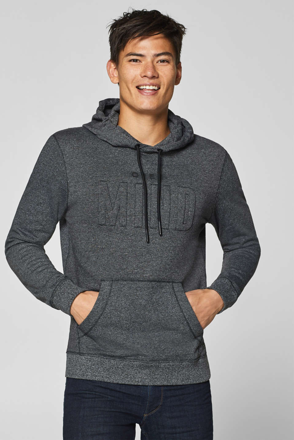 edc - Blended cotton hoodie with 3-d lettering