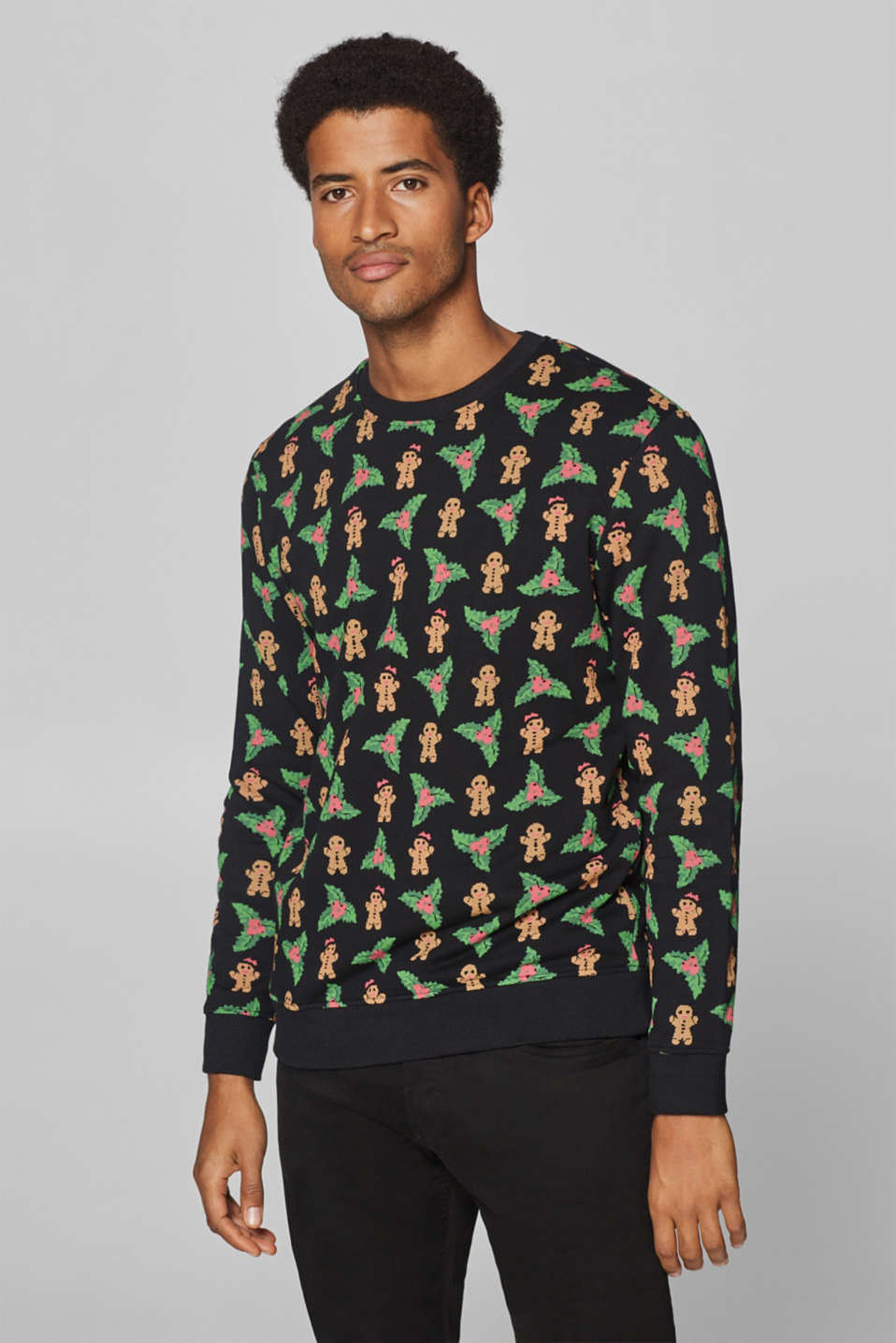 edc - Sweatshirt with gingerbread print, 100% cotton