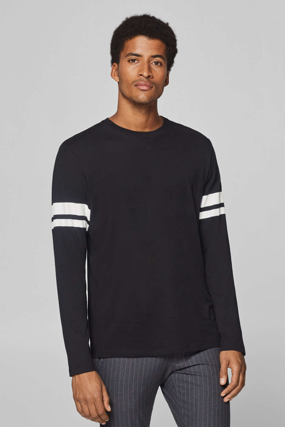 edc - Jersey long sleeve top with stripes, 100% cotton