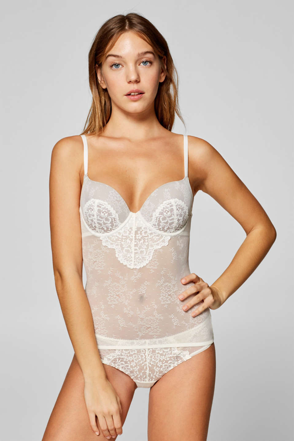 edc - Camisole with lace padded underwire cups