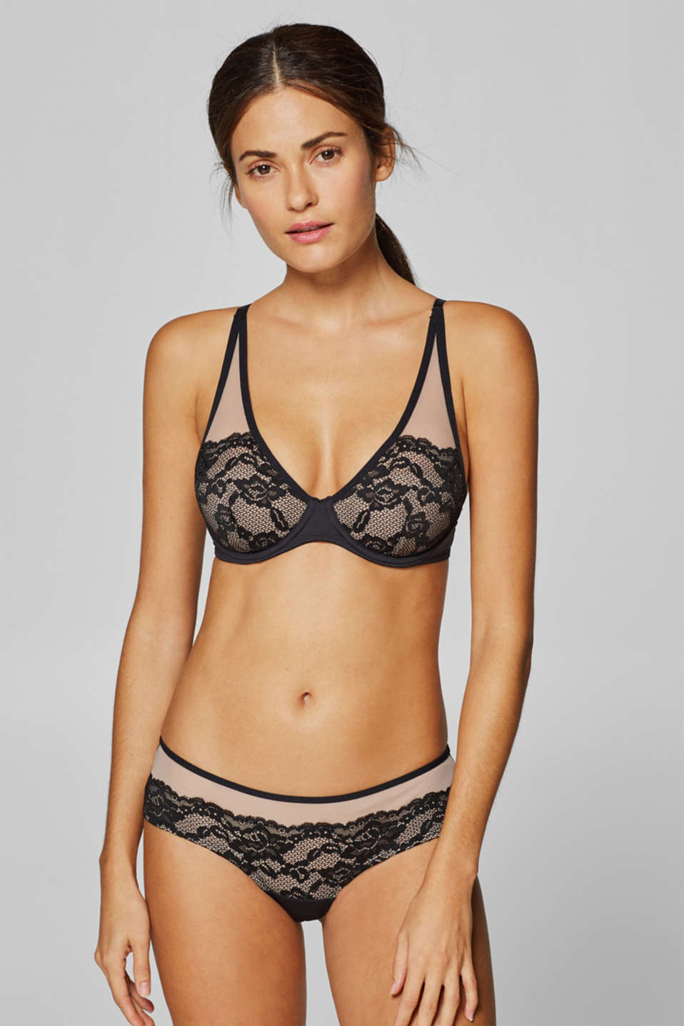 edc - Underwire bra with semi-padded lace cups
